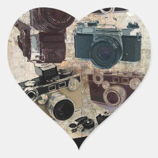 Vintage Grunge Retro Cameras Fashion Heart Sticker