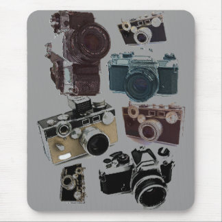 Vintage Grunge Retro Cameras Fashion Mouse Pad