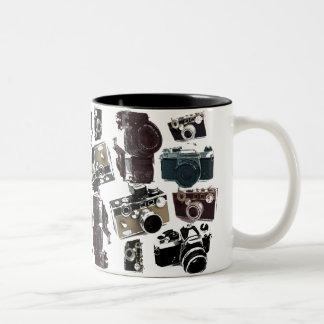 Vintage Grunge Retro Cameras Fashion Two-Tone Coffee Mug