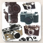 Vintage Grunge Retro Cameras Pattern Coasters