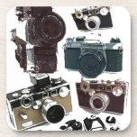 Vintage Grunge Retro Cameras Pattern Beverage Coasters