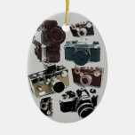 Vintage Grunge Retro Cameras Pattern Double-Sided Oval Ceramic Christmas Ornament