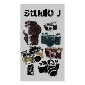 Vintage Grunge Retro Cameras Pattern Double-Sided Standard Business Cards (Pack Of 100)