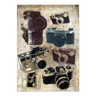 Vintage Grunge Retro Cameras Pattern 5x7 Paper Invitation Card