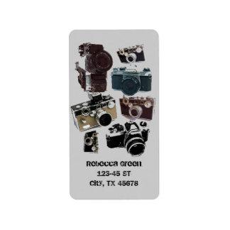 Vintage Grunge Retro Cameras Pattern Address Label