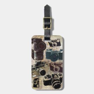 Vintage Grunge Retro Cameras Pattern Travel Bag Tags
