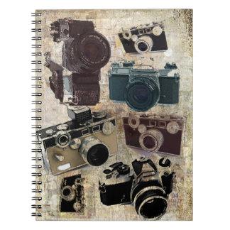 Vintage Grunge Retro Cameras Pattern Spiral Note Books