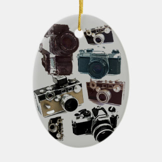 Vintage Grunge Retro Cameras Pattern Christmas Ornaments