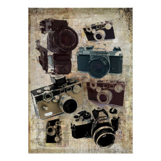 Vintage Grunge Retro Cameras Pattern Posters