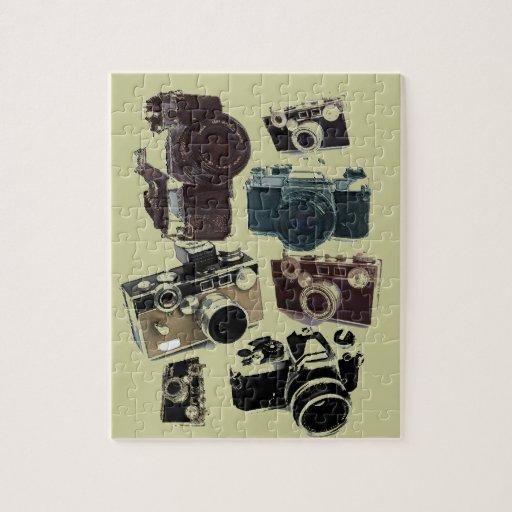 Vintage Grunge Retro Cameras Pattern Puzzles
