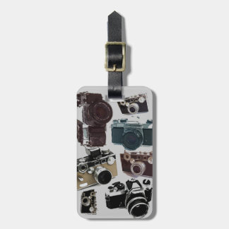 Vintage Grunge Retro Cameras Pattern Tag For Luggage