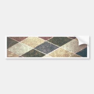 Vintage grunge retro checkers twill textile chic bumper stickers