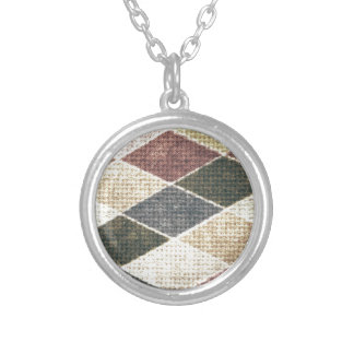 Vintage grunge retro checkers twill textile chic custom necklace