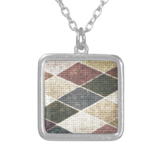 Vintage grunge retro checkers twill textile chic necklaces