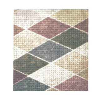 Vintage grunge retro checkers twill textile chic memo notepad