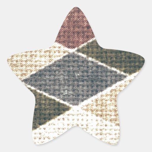 Vintage grunge retro checkers twill textile chic star stickers