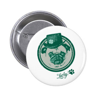 Vintage Grunge St Patrick's Day Pug Tees Pinback Buttons