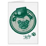 Vintage Grunge St Patrick's Day Pug Tees Cards