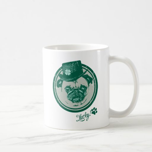 Vintage Grunge St Patrick's Day Pug Tees Coffee Mugs