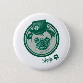 Vintage Grunge St Patrick's Day Pug Tees Pinback Button