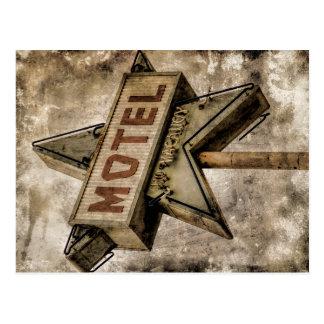 Vintage Grunge Star Motel Sign Postcard