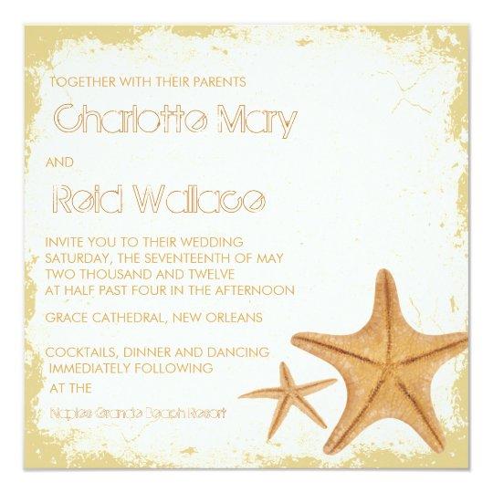 Vintage Grunge Starfish wedding invitaton Card