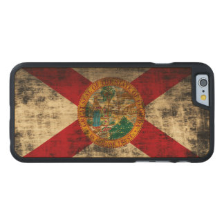 Vintage Grunge State Flag of Florida Carved Maple iPhone 6 Slim Case