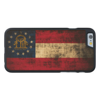 Vintage Grunge State Flag of Georgia Carved® Maple iPhone 6 Case