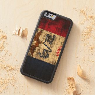 Vintage Grunge State Flag of Iowa Carved Maple iPhone 6 Bumper Case