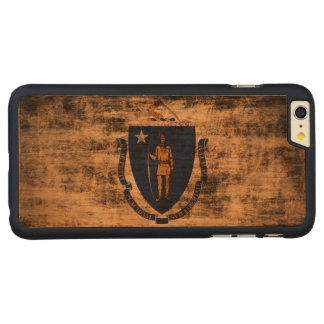 Vintage Grunge State Flag of Massachusetts Carved® Cherry iPhone 6 Plus Slim Case