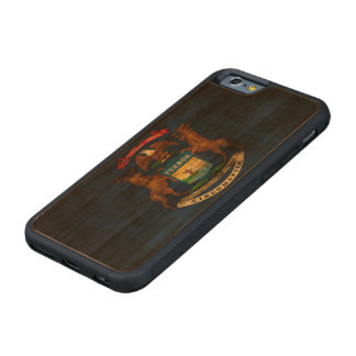 Vintage Grunge State Flag of Michigan Carved Cherry iPhone 6 Bumper Case