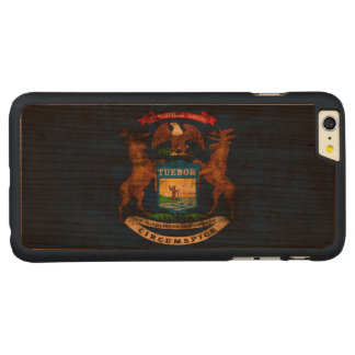 Vintage Grunge State Flag of Michigan Carved Cherry iPhone 6 Plus Slim Case