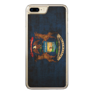 Vintage Grunge State Flag of Michigan Carved iPhone 7 Plus Case