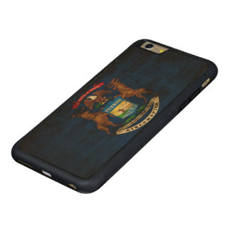 Vintage Grunge State Flag of Michigan Carved Maple iPhone 6 Plus Bumper Case