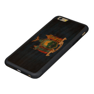 Vintage Grunge State Flag of New York Carved® Cherry iPhone 6 Plus Bumper