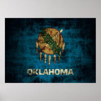 Vintage Grunge State Flag of Oklahoma Poster