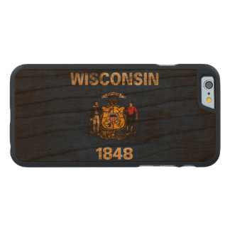 Vintage Grunge State Flag of Wisconsin Carved Cherry iPhone 6 Slim Case