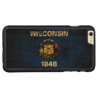 Vintage Grunge State Flag of Wisconsin Carved Maple iPhone 6 Plus Slim Case