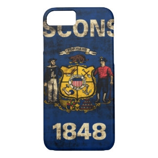 Vintage Grunge State Flag of Wisconsin iPhone 8/7 Case