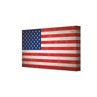 Vintage Grunge Style American Flag Dimensional Art Canvas Prints