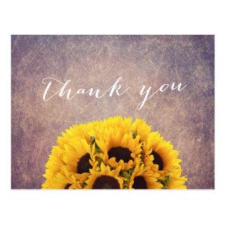 Vintage Grunge Sunflowers Thank You Postcard