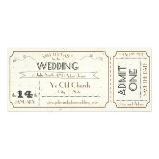 Vintage Grunge Ticket Save the Date Rack Card