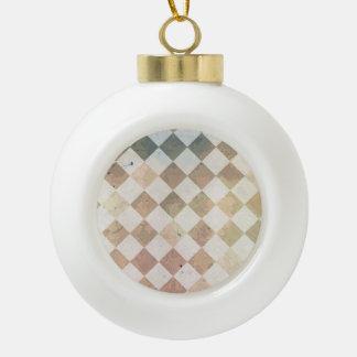 Vintage grunge tile pattern ceramic ball christmas ornament