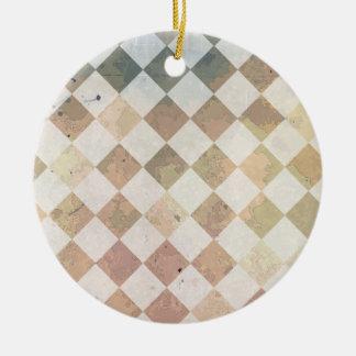 Vintage grunge tile pattern ceramic ornament