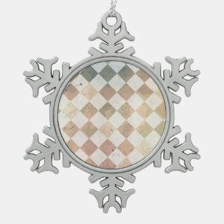 Vintage grunge tile pattern snowflake pewter christmas ornament