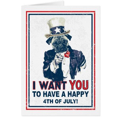 Vintage Grunge Uncle Sam Pug 4th of July Card
