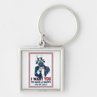 Vintage Grunge Uncle Sam Pug 4th of July Keychain