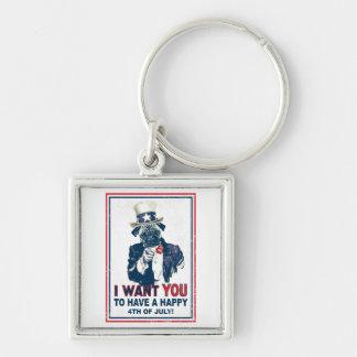 Vintage Grunge Uncle Sam Pug 4th of July Keychain