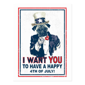 Vintage Grunge Uncle Sam Pug 4th of July Postcard