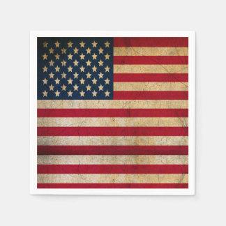 Vintage Grunge US Flag / Stars and Stripes Standard Cocktail Napkin
